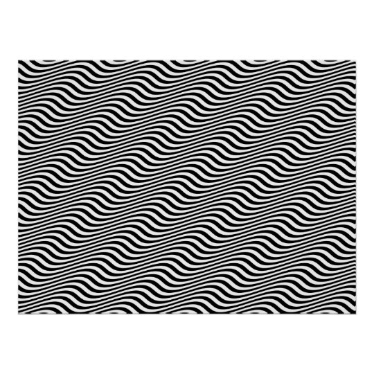 Op Art Black and White Horizontal Sine Stripes