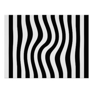 Op Art Black and White Twisted Stripes Poster