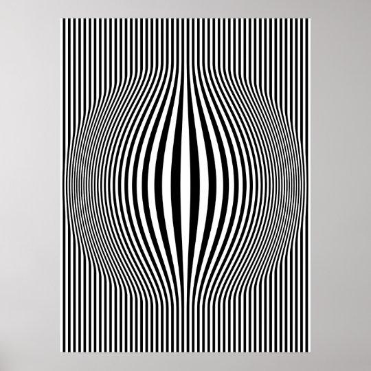 Op Art Bulging Vertical Stripes Black and White