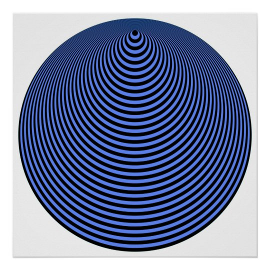 Op Art Concentric Circles Blue Over Black Poster