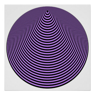 Op Art Concentric Circles Violet Over Black Poster