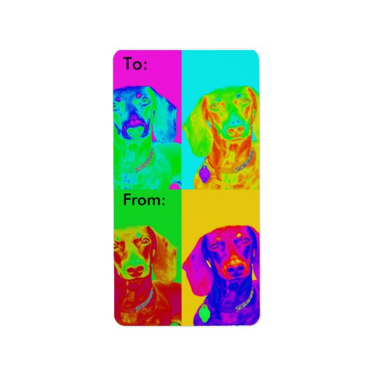 Op Art Dachshund Address Label