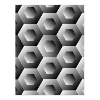 Op Art Hexagon in white and grey colors Postcard