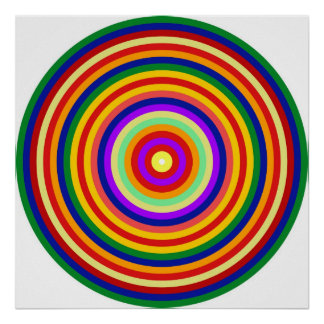Op Art Homage to CT Multicolor Concentric Circles Poster