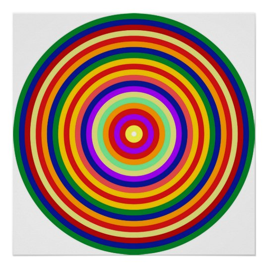 Op Art Homage to CT Multicolor Concentric Circles