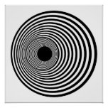 Op Art Horizontal Circles Black and White 01 Print