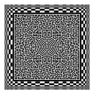 Op-Art Maze and Checkers Poster