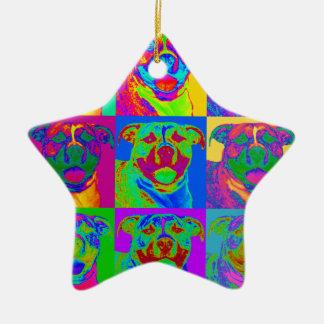 Op Art Pitbull Christmas Ornament