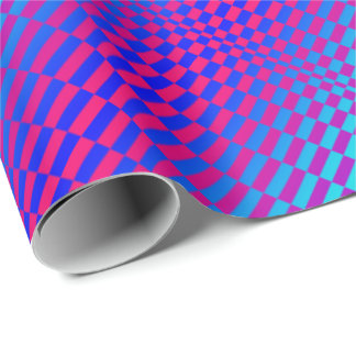 Op-Art Rigel blue and fuschia Wrapping Paper