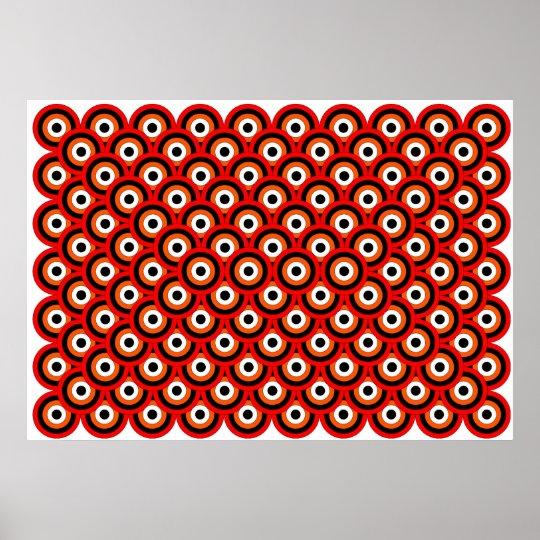 Op Art Thousand Eyes Red Orange White Black