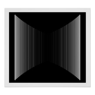 Op Art Vertical Bars White On Black Progressive 01 Poster