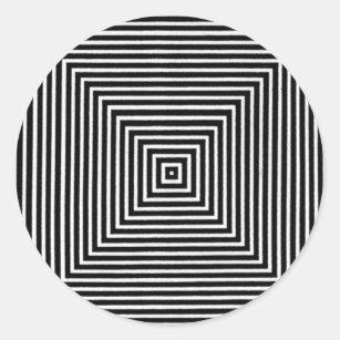b1a406d594234e Op Art Visual Black and White Squares Classic Round Sticker