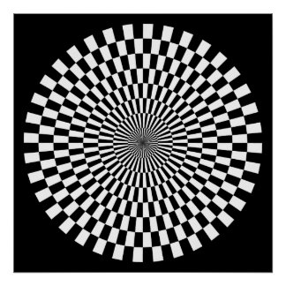 Op Art Wheel - Black and White on Black Poster