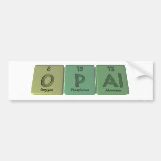 Opal as Oxygen Phosphorus Aluminium Car Bumper Sticker