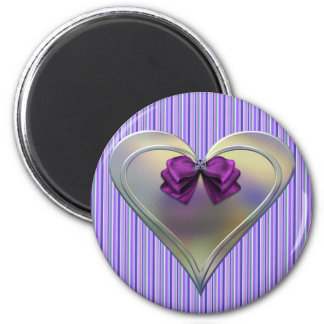 Opal Heart 6 Cm Round Magnet