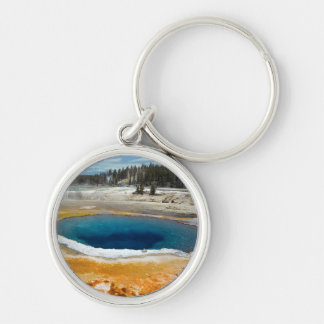 Opal Pool Silver-Colored Round Key Ring