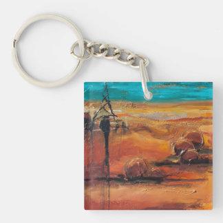 Opal Sky Single-Sided Square Acrylic Key Ring