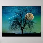 Opalescent Sky print shooting star, moonlit tree