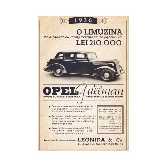 Opel Pullman 1936 - Vintage Poster Canvas Print