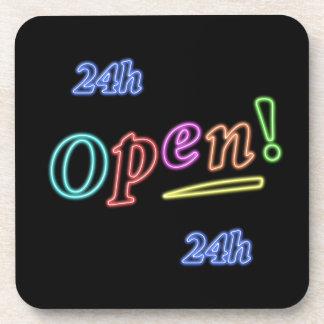 Open 24 hours beverage coasters