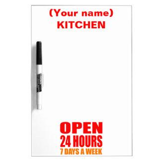 Open 24 Hours Dry-Erase Whiteboard
