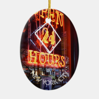 Open 24 Hours Neon Diner Sign NYC Photography Christmas Ornament