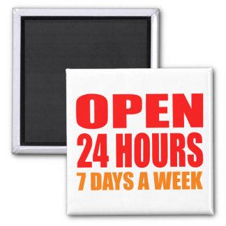 Open 24 Hours Refrigerator Magnet