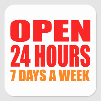 Open 24 Hours Stickers