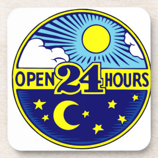 Open 24 Hours Sun and Moon Beverage Coaster