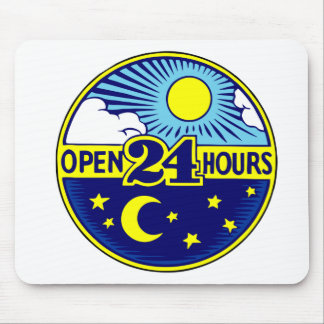 Open 24 Hours Sun and Moon Mouse Pads