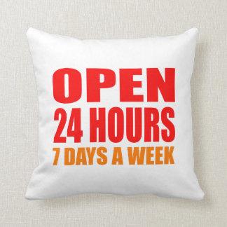 Open 24 Hours Throw Pillows