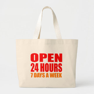 Open 24 Hours Tote Bags