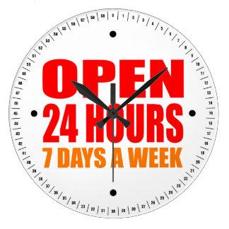 Open 24 Hours Wallclocks