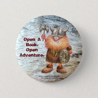 Open A Book.  Open Adventure. 6 Cm Round Badge