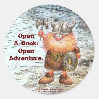 Open A Book.  Open Adventure. Round Sticker