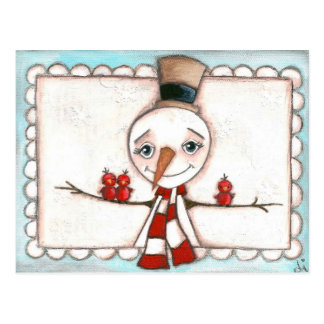 Open Arms Snowman - Holiday Postcard