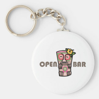 Open Bar Basic Round Button Key Ring