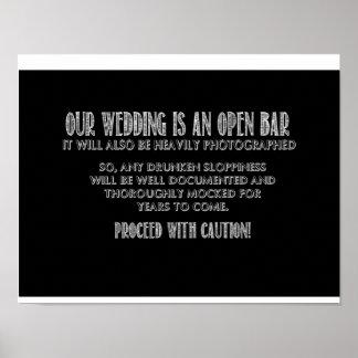 Open Bar Sign Poster