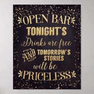 Open Bar Wedding Poster Black/Gold