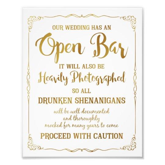 Open bar wedding sign gold glitter, wedding poster
