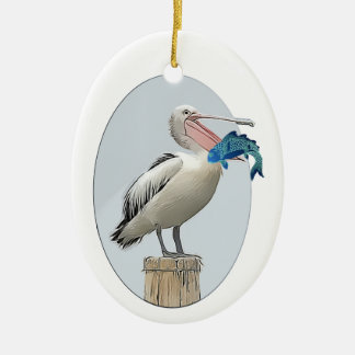 Open Beaked Pelican with Fish Ornament