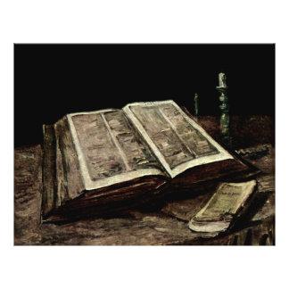 Open Bible Book with Candles - van Gogh 21.5 Cm X 28 Cm Flyer