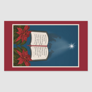 Open Bible Christmas Message Rectangular Sticker