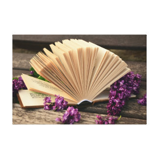 Open Book and Lilac Canvas Print