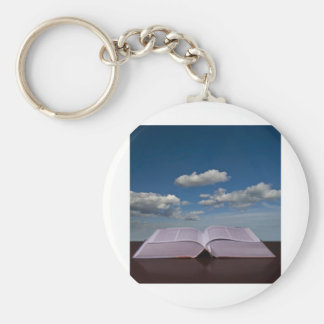 Open Book and Sky Basic Round Button Key Ring