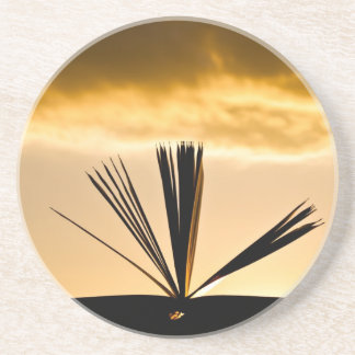 Open Book and Sunset Photograph Coaster