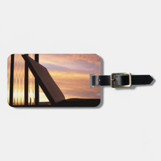 Open Book and Sunset Photograph Luggage Tag