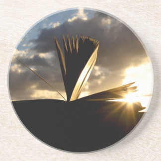 Open Book and Sunset Photography Beverage Coaster