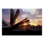 Open Book and Sunset Photography Poster