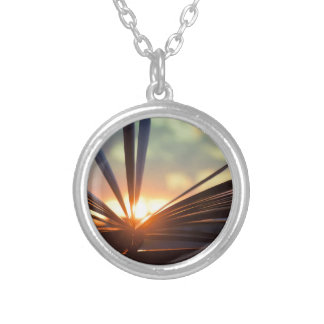 Open Book and Sunset Photography Silver Plated Necklace